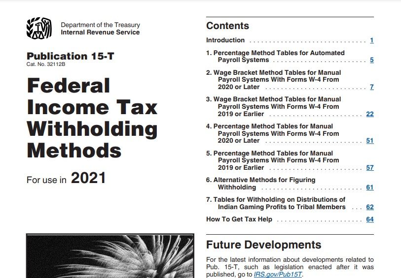 Federal Income Tax Withholding Methods Tables 2021