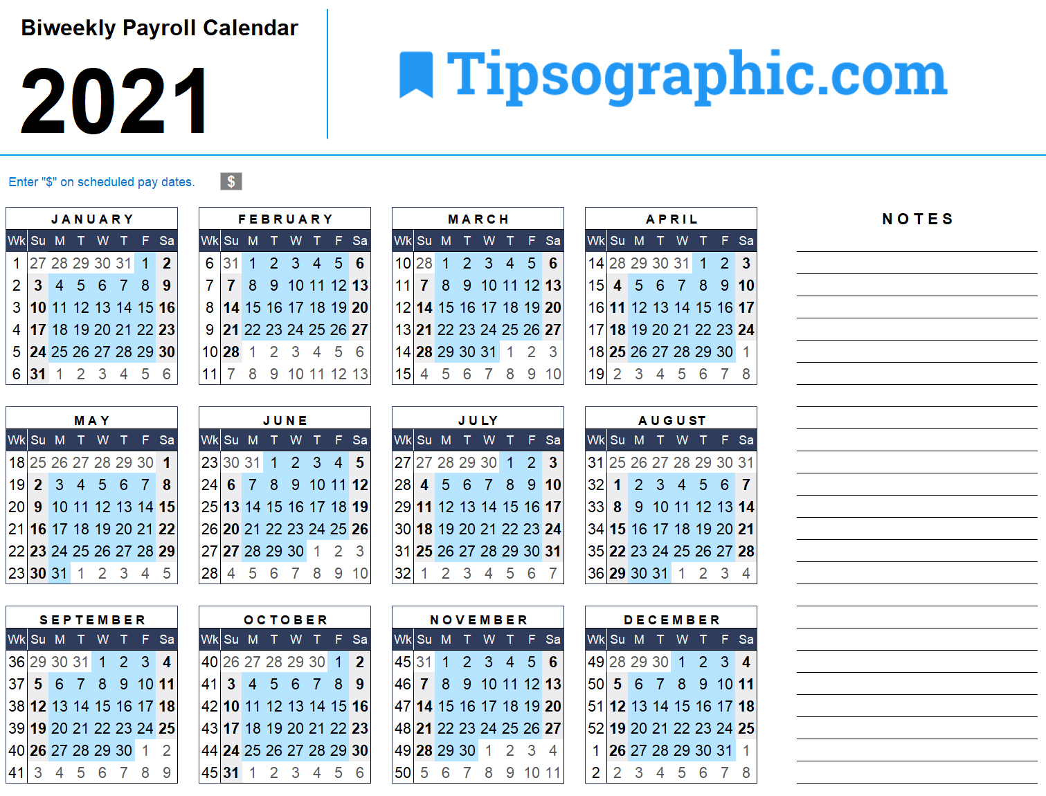 Download The 2021 Biweekly Payroll Calendar Tipsographic