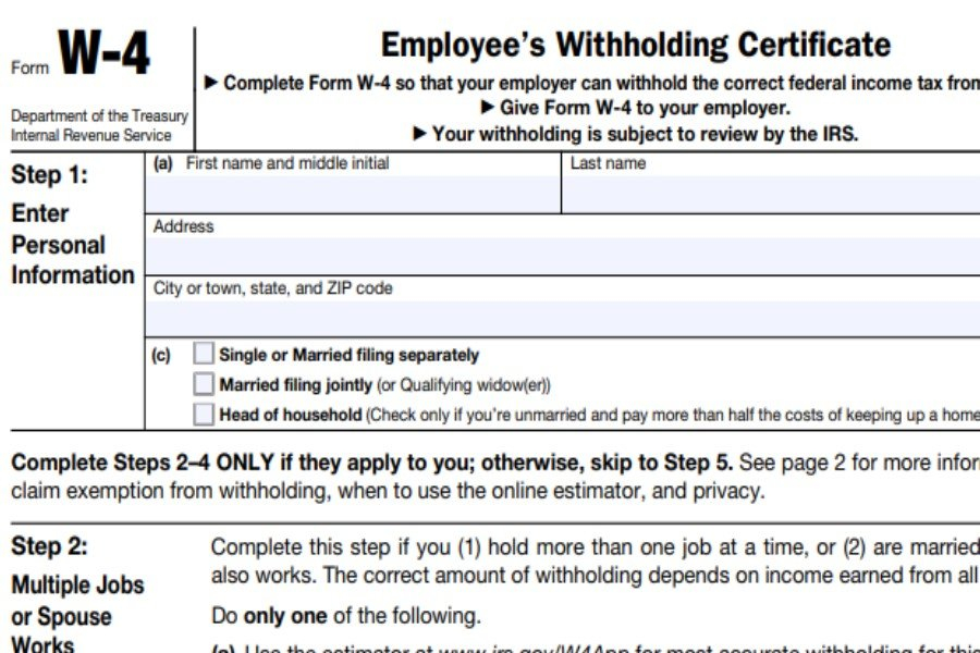 Form W 4 2021 Employee s Withholding Certificate