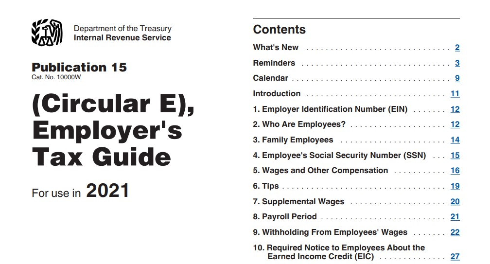 IRS 2021 Circular E Federal Witholding Tables 2021