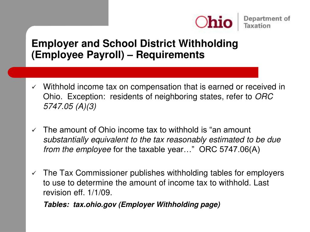 State Of Ohio Employer Withholding Tax Tables