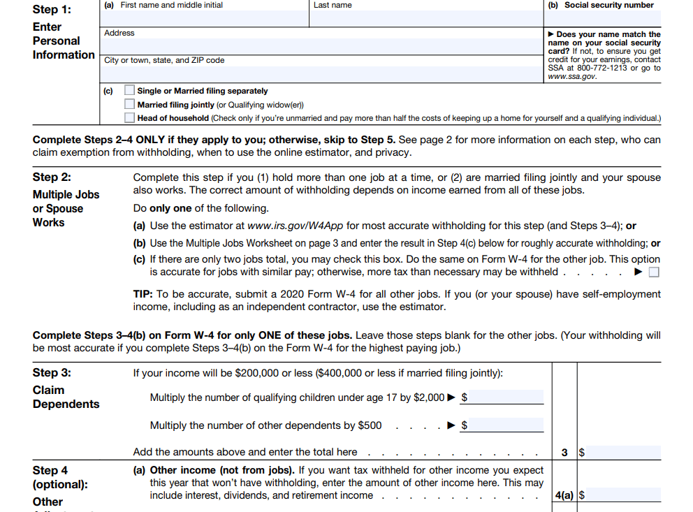 W4 2021 IRS Free Fillable Printable Tax Withholding Form